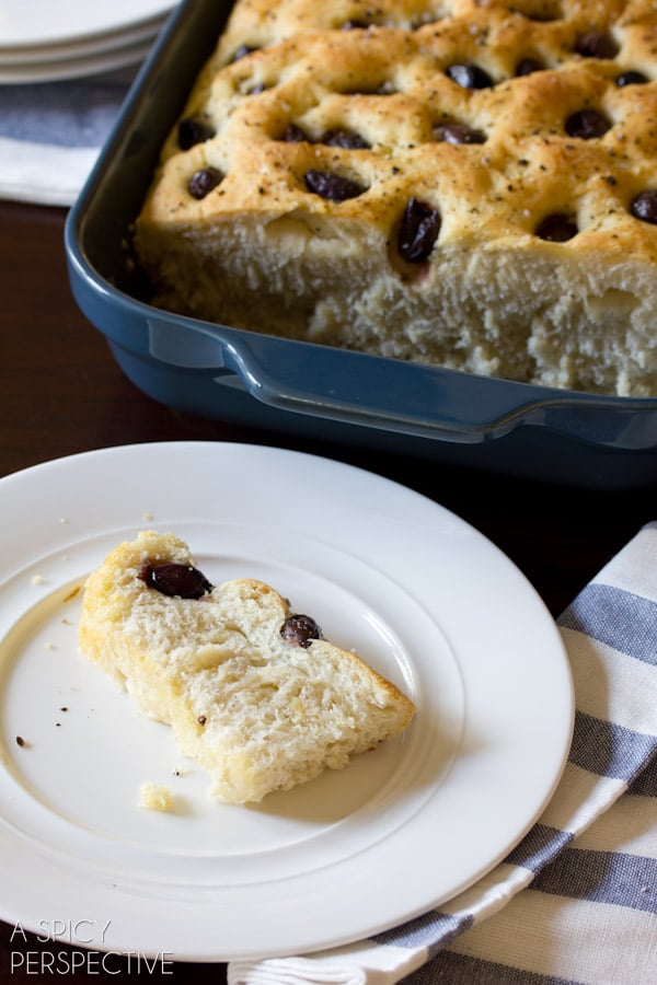Easy Focaccia Bread with Roasted Garlic and Olives | ASpicyPerspective.com #bread #focaccia