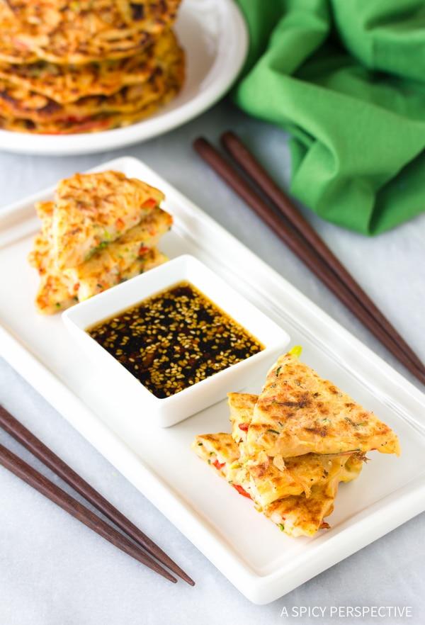 Korean Pancakes #ASpicyPerspective #KoreanPancakes #KoreanPancakeRecipe #Pajun #Pajeon #Korean #Vegetarian