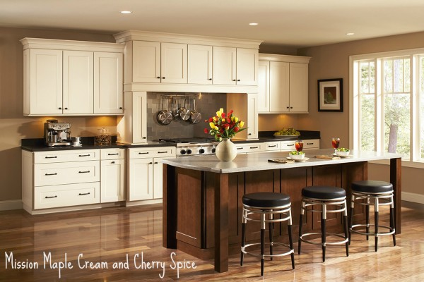 Shenandoah Cabinetry - Mission 5 Piece Drawer Maple Cream with Cherry Spice K_LW_42MGL_42CSS_ISLB_12_GEN