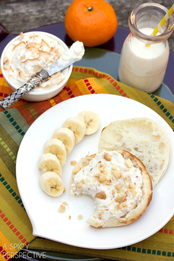 Easy Toasted Coconut Breakfast Spread on ASpicyPerspective.com #breakfast
