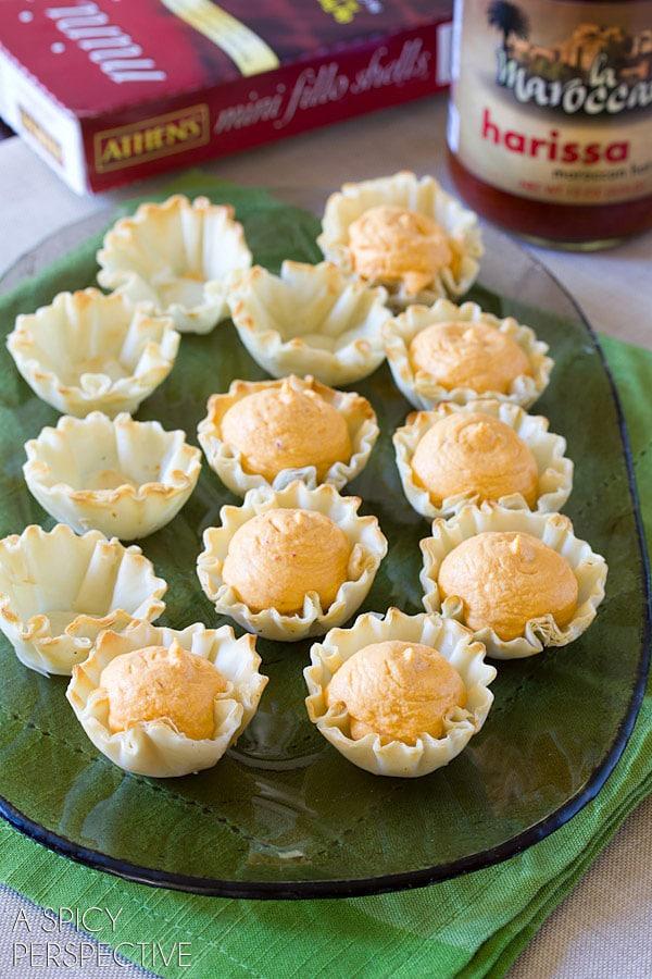Making Middle Eastern Deviled Egg Recipe in Fillo Baskets! #spring #deviledeggs