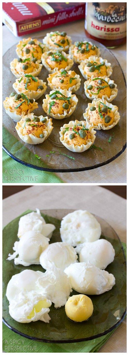 Middle Eastern Deviled Egg Recipe in Fillo Baskets! #spring #deviledeggs