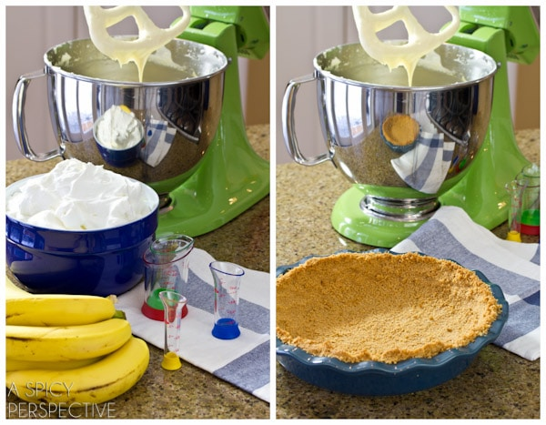 How to Make Crust #ASpicyPerspective #BananaCreamPie #BananaCreamPieRecipe #CreamPie #Easter #Dessert #Bananas #WhippedCream #BananaPie