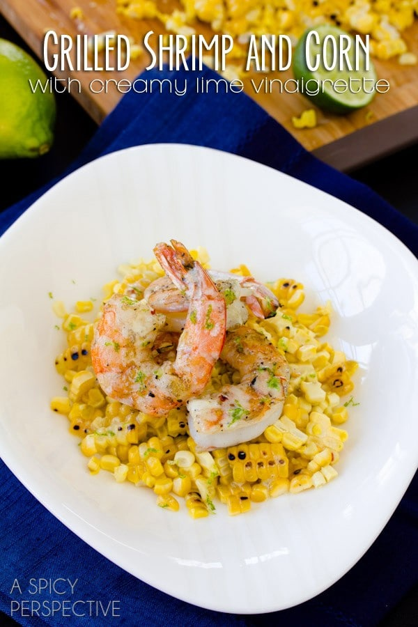 Grilled Shrimp and Corn with Creamy Lime Vinaigrette #corn #shrimp #healthyrecipe #lime