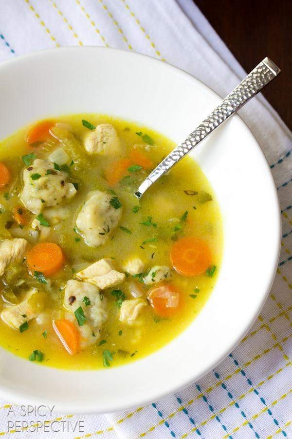 Chicken-N-Dumplings Soup Recipe | ASpicyPerspective.com #soup #recipe #chicken