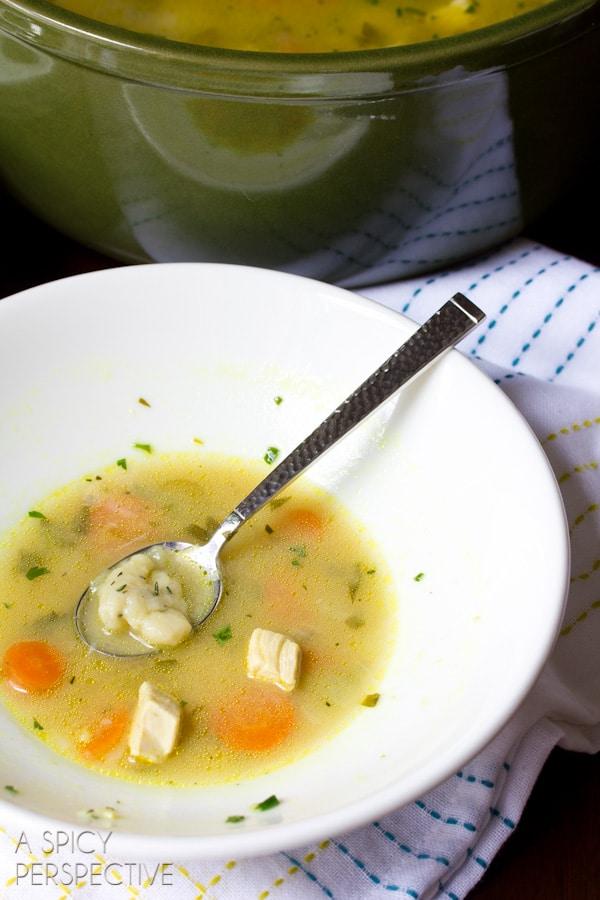 Chicken & Dumplings Soup Recipe | ASpicyPerspective.com #soup #recipe #chicken