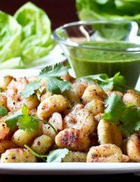 Lettuce Wrap Recipe with Shrimp, Gnocchi and Serrano Mint Dressing #giveaway #DelalloSpring #lettucewraps