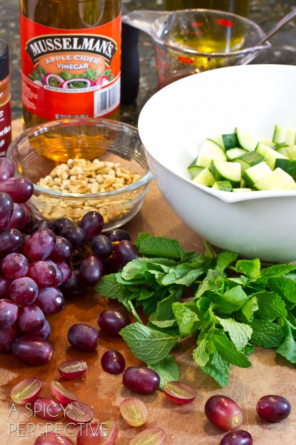 Chop Salad with Apple Vinaigrette Grapes and Fresh Mint | ASpicyPerspective.com #salad #grilledcheese #vegetarian
