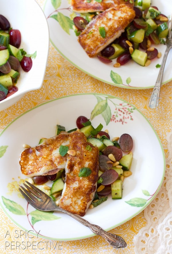 Grilled Cheese Chop Salad w Apple Vinaigrette Grapes and Fresh Mint | ASpicyPerspective.com #salad #grilledcheese #vegetarian