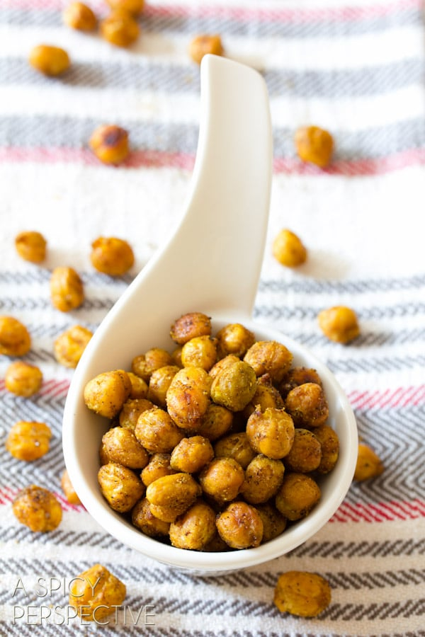 """Healthy """"Indian"""" Roasted Chickpeas 