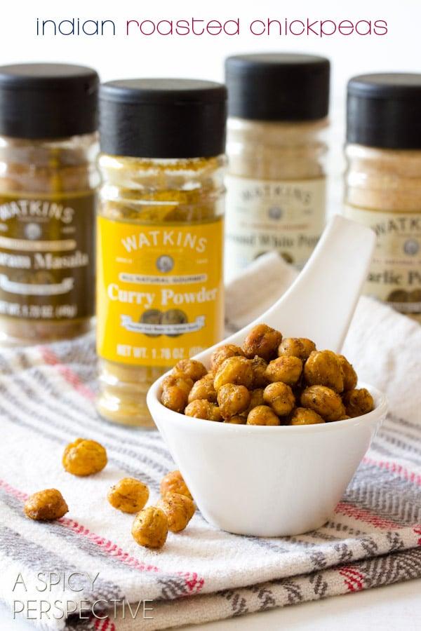 "Crispy ""Indian"" Roasted Chickpeas | ASpicyPerspective.com #snack #healthy #chickpeas"
