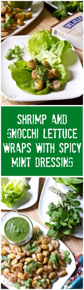 You've got to make these Shrimp and Gnocchi Lettuce Wraps with Spicy Mint Dressing on ASpicyPerspective.com #DelalloItalian #Pasta #LettuceWraps