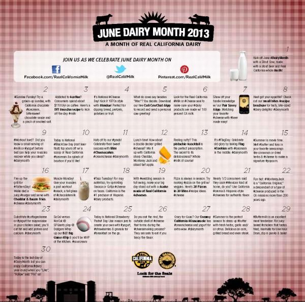30 Days of Dairy Calendar #30daysofCAdairy @realcalifmilk