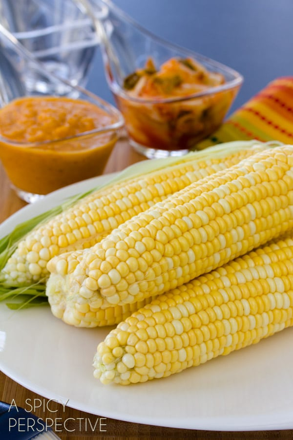 Grilled Corn on the Cob | ASpicyPerspective.com #grilling #summer #corn #grilledcorn