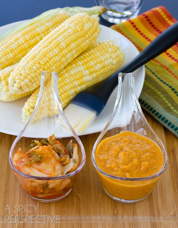 Kimchi Butter Grilled Corn on the Cob | ASpicyPerspective.com #grilling #summer #corn #grilledcorn
