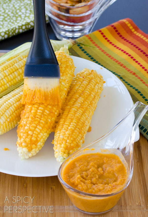 Spicy Kimchi Grilled Corn on the Cob | ASpicyPerspective.com #grilling #summer #corn #grilledcorn