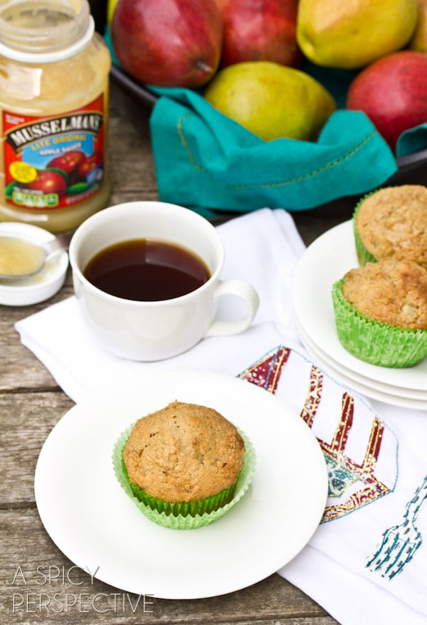 Easy Pear and Applesauce Muffins | ASpicyPerspective.com #muffins #applesauce #apple #breakfast