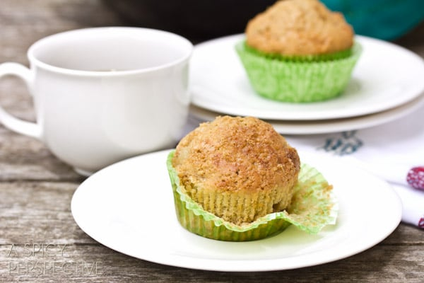 Simple Pear and Applesauce Muffins | ASpicyPerspective.com #muffins #applesauce #apple #breakfast