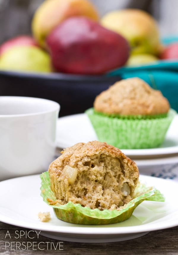 Pear - Applesauce Muffins | ASpicyPerspective.com #muffins #applesauce #apple #breakfast