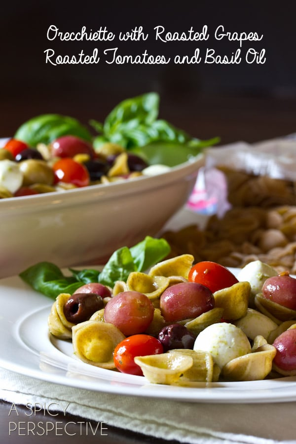 Orecchiette with Roasted Grapes and Tomatoes | ASpicyPerspective.com #pastasalad #roastedtomatoes #picnic #delallo