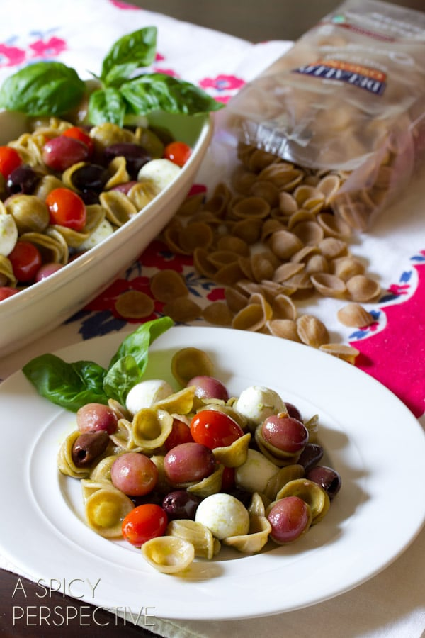 Orecchiette Salad with Roasted Grapes and Tomatoes | ASpicyPerspective.com #pastasalad #roastedtomatoes #picnic