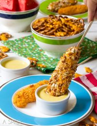 Easy Cheesy Pretzel Chicken Pops with Honey Mustard Sauce | ASpicyPerspective.com #kidfriendly #chickentenders #backtoschool #recipe