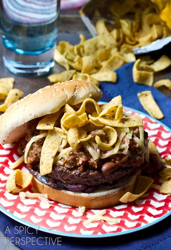 Frito Chili Cheeseburger | ASpicyPerspective.com #summer #recipe #cheeseburger #burger
