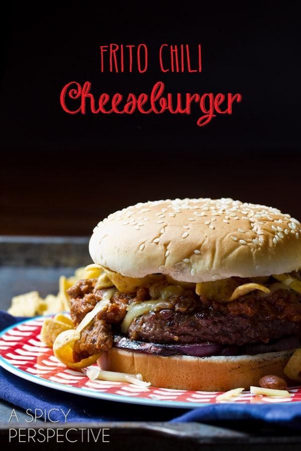 Frito Chili Cheeseburger Recipe | ASpicyPerspective.com #summer #recipe #cheeseburger #burger