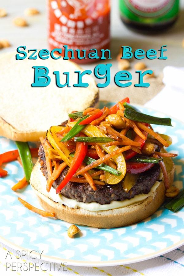Szechuan Beef Burgers   ASpicyPerspective.com #recipe #burger #hamburger #grilling #chinese