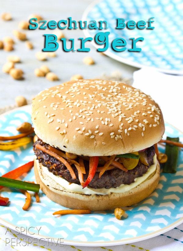 Spicy Szechuan Beef Burgers   ASpicyPerspective.com #recipe #burger #hamburger #grilling #chinese