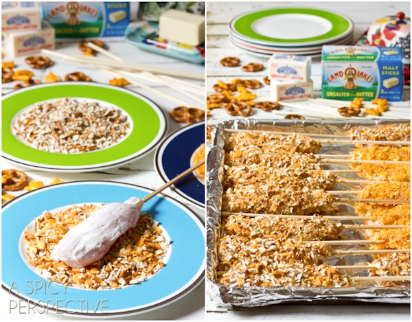 How to make Cheesy Pretzel Chicken Pops with Honey Mustard Sauce   ASpicyPerspective.com #kidfriendly #chickentenders #backtoschool #recipe