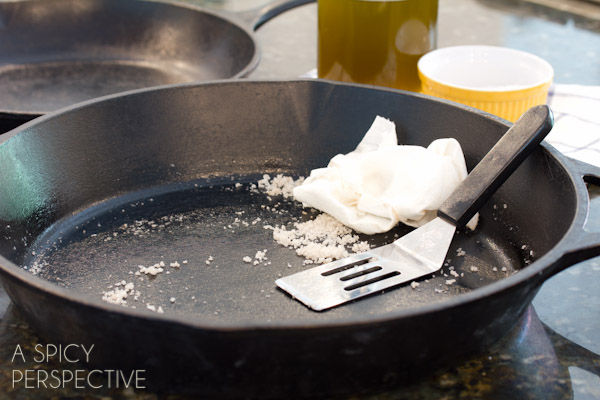 Cleaning Out Excess #ASpicyPerspective #CastIronSkillet #HowtoCleanaCastIronSkillet #HowtoSeasonaCastIronSkillet #HowTo #DIY #Kitchen