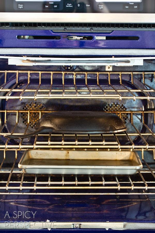 Seasoning in Oven #ASpicyPerspective #CastIronSkillet #HowtoCleanaCastIronSkillet #HowtoSeasonaCastIronSkillet #HowTo #DIY #Kitchen