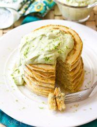 Savory Corn Cakes with Avocado Cream | ASpicyPerspective.com #avocado #breakfast #guacamole #savory