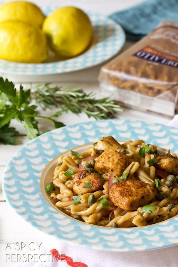 Chicken Picatta Pasta   ASpicyPerspective.com #pasta #chickenrecipe #chicken