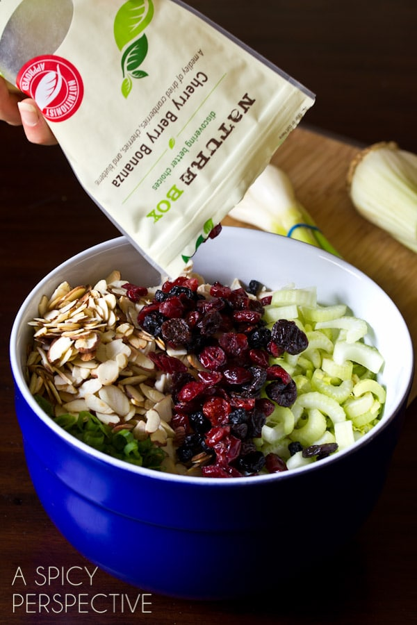How to Make Classic Chicken Salad Recipe with a Twist! (Cherries, Berries, Almonds, Oh My!) ASpicyPerspective.com #chickensalad #chicken #backtoschool #naturebox
