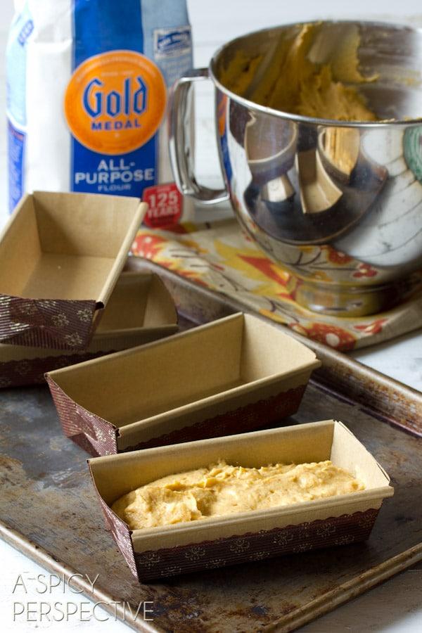 How to make Pumpkin Pound Cake with Chocolate Ganache | ASpicyPerspective.com #pumpkin #fall #poundcake #chocolate