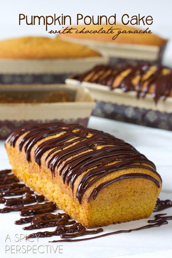 Pumpkin Pound Cake with Chocolate Ganache | ASpicyPerspective.com #pumpkin #fall #poundcake #chocolate