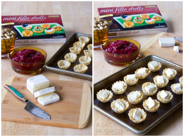 Cranberry Brie Bites #ASpicyPersepctive #cranberrybriebites #briebites #bakedbriebites #puffpastry #holiday #christmas #thanksgiving #appetizers