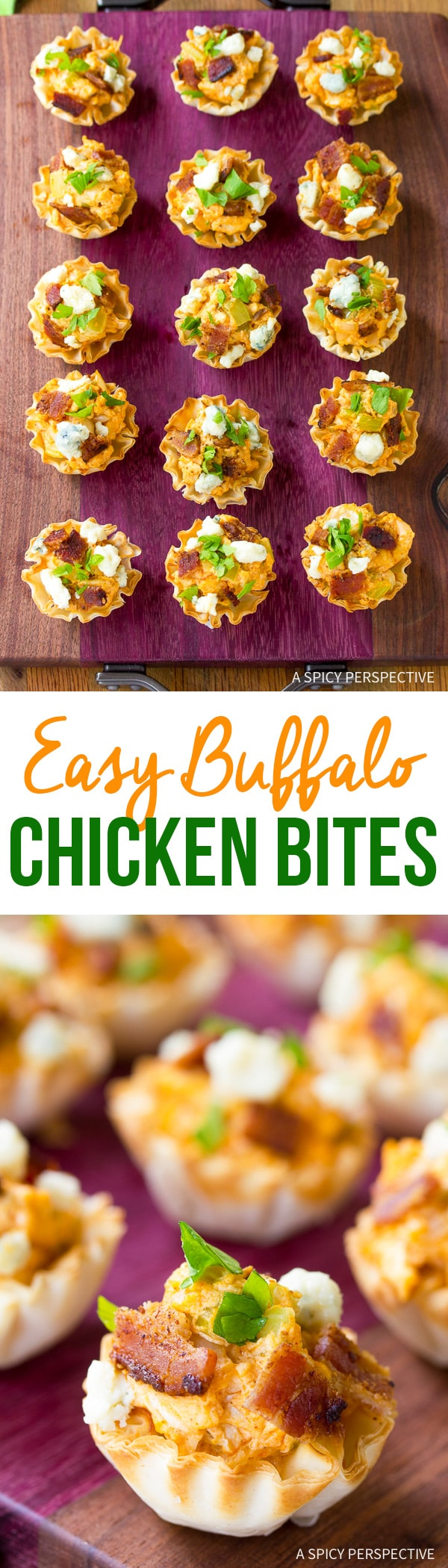 Looking for quick and tasty party snacks? Look no further. These itty bitty Easy Buffalo Chicken Bites are just the thing to serve at your game-day party!
