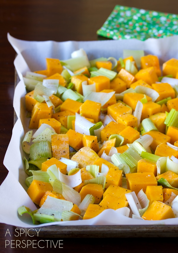 Making Easy Roasted Butternut Squash with Leeks, Bacon and Apple Glaze --SO GOOD! #thanksgiving #holidays #recipe #butternutsquash