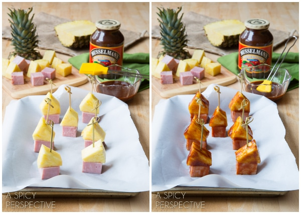 Making BBQ Sauce Glazed - Pineapple Ham Party Picks! #SuperBowl #GameDay #KidFriendly #snacks