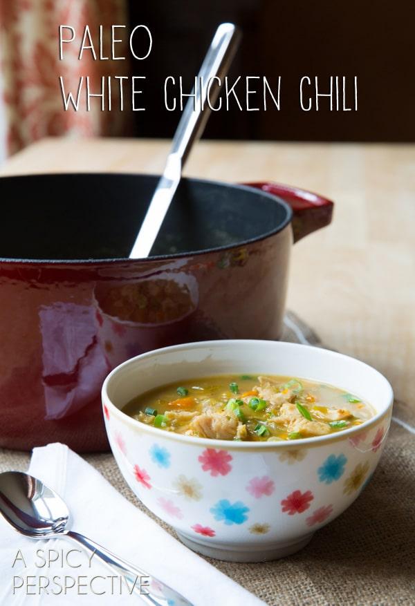 Paleo White Chicken Chili #paleo #recipe #chicken #chickenchili #chili