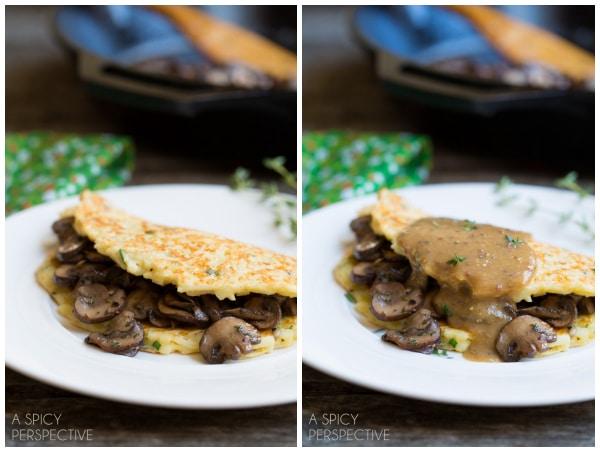 The Boxty: Irish Potato Pancakes with Sauteed Mushrooms and Whiskey Gravy #stpaddyday #stpatricksday #irish #recipe