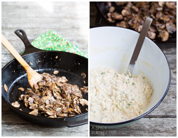 How to Make a Boxty: Irish Potato Pancakes with Sauteed Mushrooms and Whiskey Gravy #stpaddyday #stpatricksday #irish #recipe