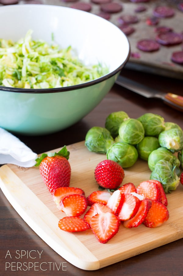 Healthy Strawberry Beet Salad with Shaved Brussels Sprouts and Pom Balsamic Vinaigrette #salad #beets #brusselssprouts