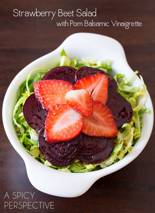 Strawberry Beet Salad with Shaved Brussels Sprouts and Pom Balsamic Vinaigrette #salad #beets #brusselssprouts