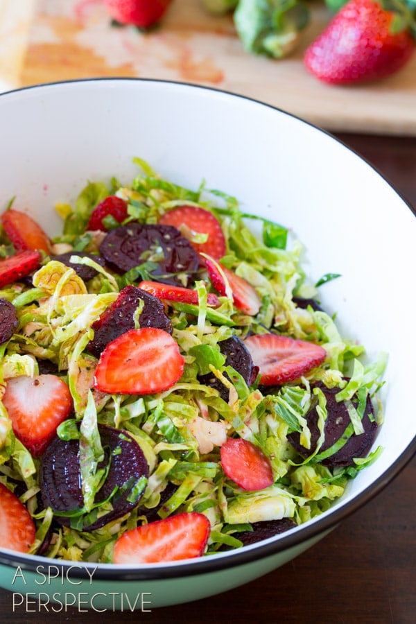 Beet Salad with Shaved Brussels Sprouts and Pom Balsamic Vinaigrette #salad #beets #brusselssprouts