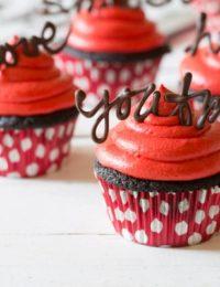 Dark Chocolate Cupcake Recipe with Red Velvet Frosting