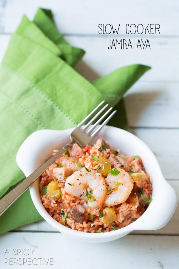 Slow Cooker Jambalaya Recipe #crockpot #slowcooker #recipe